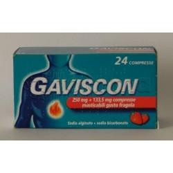 Gaviscon 24 Compresse Masticabili Fragola 250 Mg per Bruciore di Stomaco e Reflusso