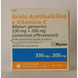 Acido Acetilsalicilico e Vitamina C Mylan Generics 20 Compresse Effervescenti Equivalente Aspirina C