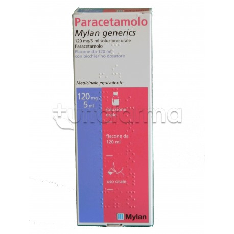 Paracetamolo Mylan Sciroppo Flacone 120 ml per Febbre e Influenza