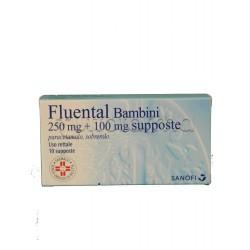 Fluental Bambini 10 Supposte 250 mg + 100 mg per Febbre e Catarro