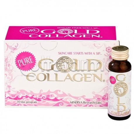 Pure Gold Collagen Integratore per Pelle, Capelli e Unghie 10 Flaconcini
