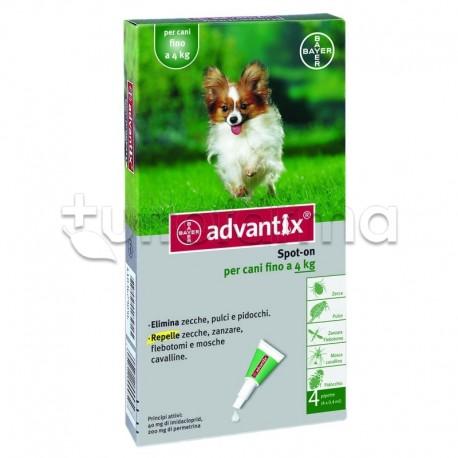 Advantix Antiparassitario per Cani fino a 4 Kg 4 Pipette Spot-On
