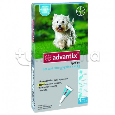Advantix Antiparassitario per Cani da 4 kg a 10 kg 4 Pipette Spot-On