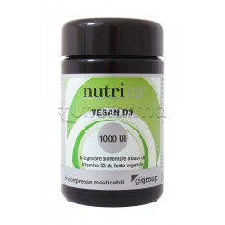 Nutriva Vegan D3 1000 UI Integratore di Vitamina D 120 Compresse Masticabili