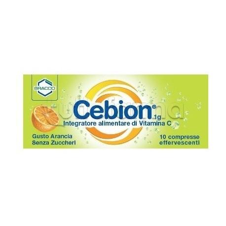 Cebion 10 Compresse Effervescenti 1 gr Senza Zucchero Vitamina C Gusto Arancia