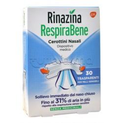 RespiraBene Cerottini Nasali Trasparenti Pelli Sensibili Adulti 30 Pezzi