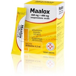 Maalox 20 Bustine Sospensione Orale 460 + 400 mg per Acidità e Bruciore di Stomaco
