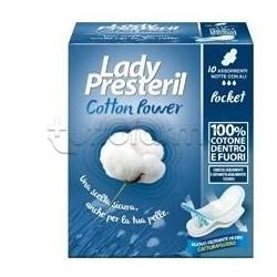 Lady Presteril Cotton Power Pocket 10 Assorbenti Notte con Ali