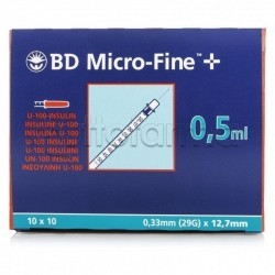 BD Siringa Per Insulina 0,5 ml 29g 12,7 mm 30 pezzi