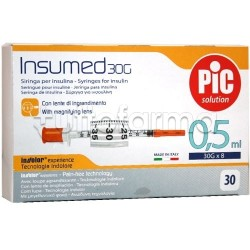 Pic Siringa Per Insulina 0,5ml 30g 8mm 30 Pezzi.