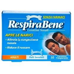 RespiraBene Cerottini Nasali Trasparenti Pelli Sensibili Adulti 10 Pezzi