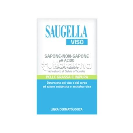 Saugella Viso Sapone-Non-Sapone pH Acido per Pelli Grasse e Impure 100g