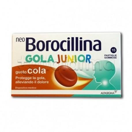 NeoBorocillina Gola Junior 15 Pastiglie Gusto Cola per Mal di Gola