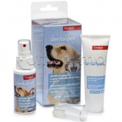 DentalPet Kit per Cani e Gatti Dentifricio 50ml + Spray 50ml + Ditale