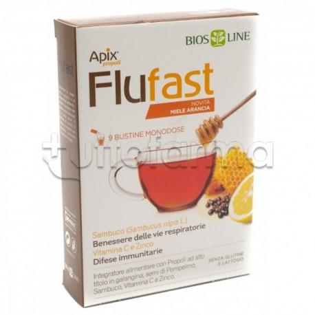 Apix Flu Fast Arancia Integratore per Raffreddore 9 Bustine