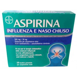 Aspirina Influenza e Naso Chiuso per Influenza e Raffreddore 20 Bustine