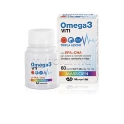 Omega 3 Viti a Tripla Azione per Cuore, Cervello e Vista 60 Perle