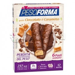 Pesoforma Barrette Cioccolato E Caramello Sostituto Pasto 12 Pezzi per 6 Pasti
