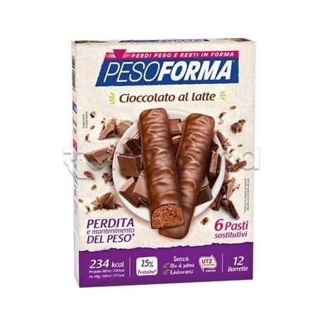 Pesoforma Barrette Cioccolato Al Latte Sostituto Pasto 12 Pezzi per 6 Pasti