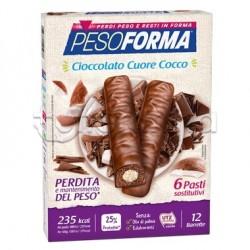 Pesoforma Barrette Cioccolato Cuore di Cocco 12 Pezzi per 6 Pasti