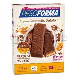 Pesoforma Barrette Caramello Salato e Cioccolato al Latte 12 Pezzi per 6 Pasti