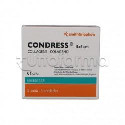 Condress Collagene Equino Medicazioni per la Pelle Lacerata 5x5cm in 3 pezzi