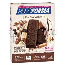 Pesoforma Barrette ai Tre Cioccolati Sostituti Pasto 12 Pezzi per 6 Pasti