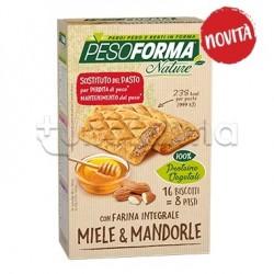 Pesoforma Nature Biscotti Integrale al Miele e Mandorle Sostituti Pasto 16 Pezzi per 8 Pasti