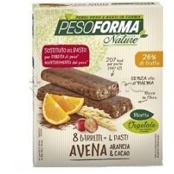 Pesoforma Nature Barrette Avena Arancia e Cacao Sostituti Pasto 8 Barrette per 4 Pasti