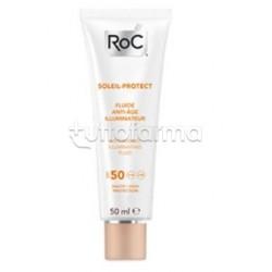 RoC Solare Crema Fluida Viso Anti Età Illuminante Protezione 50 50ml