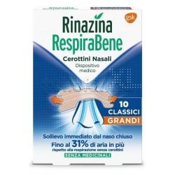 Rinazina Respirabene Cerottini Nasali Classici Grandi Adulti 10 Pezzi