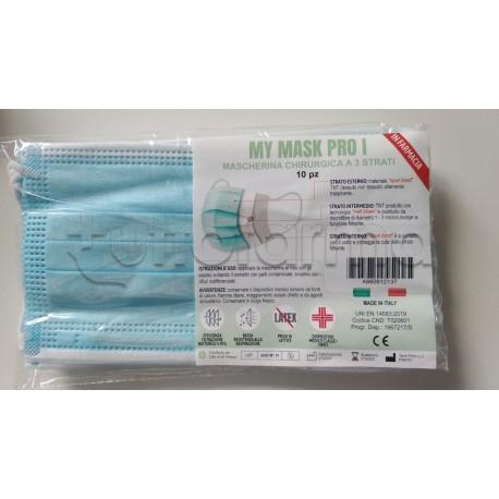Mascherina Chirurgica Monouso a Triplo Strato My Mask Pro - Confezione 10 Pezzi - 40 Centesimi a Mascherina