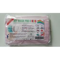 Mascherina Chirurgica per Bambini Monouso a Triplo Strato Rosa - Confezione 10 Pezzi - 40 Centesimi a Mascherina