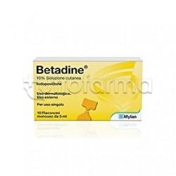 Betadine Soluzione Cutanea 10% Disinfettante Cute e Ferite 10 Flaconcini 5ml