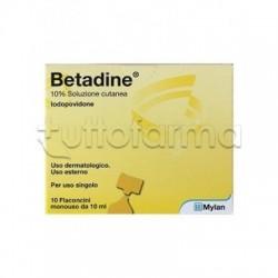 Betadine Soluzione Cutanea 10% Disinfettante Cute e Ferite 10 Flaconcini 10ml