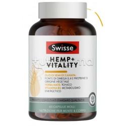 Swisse Hemp+ Vitality Integratore Tonico per Metabolismo Energetico con Olio di Semi di Canapa 60 Capsule Molli