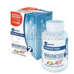 Magnesio 2 ACT Magnesio Puro Integratore di Sali Minerali Polvere Barattolo 150g
