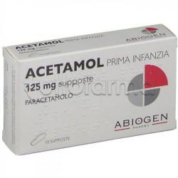 Acetamol Prima Infanzia 10 Supposte Paracetamolo 125 mg per Bambini Fino ai 10kg