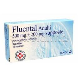 Fluental Adulti 10 Supposte 500 mg + 200 mg per Febbre e Catarro