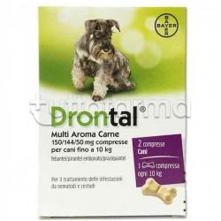 Drontal Multi Aroma Carne Farmaco Veterinario Infestazioni Intestinali dei Cani 2 Compresse