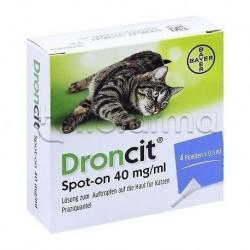 Droncit Spot-On Antiparassitario Veterinario per Gatti 4 Pipette