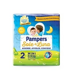 Pampers Sole e Luna Mini Pannolini per Bambini Taglia 2 (3-6Kg) 21 Pezzi