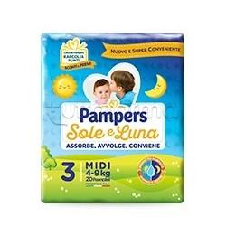 Pampers Sole e Luna Midi Pannolini per Bambini Taglia 3 (4-9Kg) 20 Pezzi