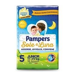 Pampers Sole e Luna Junior Pannolini per Bambini Taglia 5 (11-25Kg) 16 Pezzi