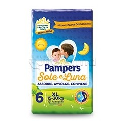 Pampers Sole e Luna Extralarge Pannolini per Bambini Taglia 6 (15-30Kg) 13 Pezzi