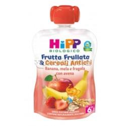 Hipp Biologico Frutta Frullata e Cereali Antichi Banana, Mela e Fragola con Avena 90g