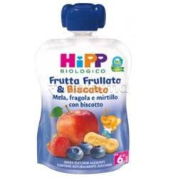 Hipp Biologico Frutta Frullata e Biscotto Mela, Fragola e Mirtillo con Biscotto 90g