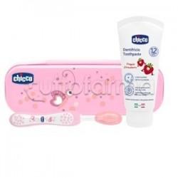 Chicco Set Dentale Rosa Spazzolino + Dentifricio con Fluoro