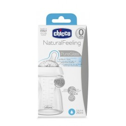 Chicco Natural Feeling Biberon Vetro Unisex Bianco da 0 Mesi 250ml 1 Pezzo