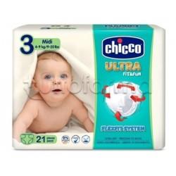 Chicco Pannolino Ultra Midi Taglia 3 4-9Kg 21 Pezzi